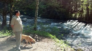 BigA and the Dog Watching the Water Flow By